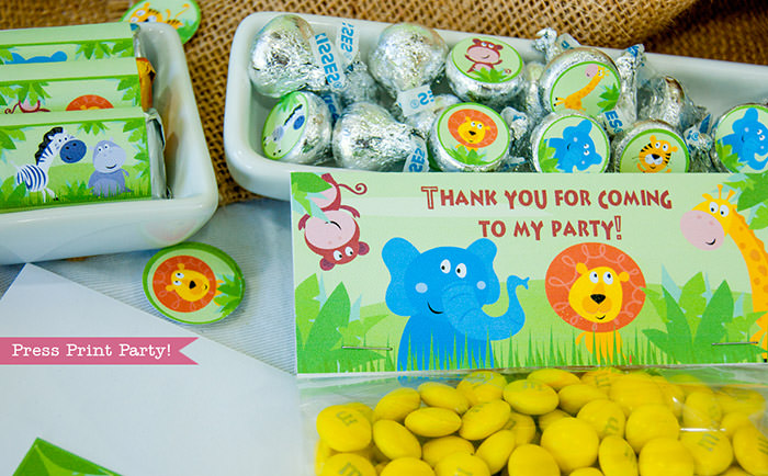 Jungle Theme Party Printables for Jungle Birthday or Safari Baby Shower - Press Print Party! chocolate wrappers