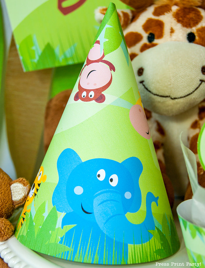 Jungle Theme Party Printables for Jungle Birthday or Safari Baby Shower - Press Print Party! birthday hat