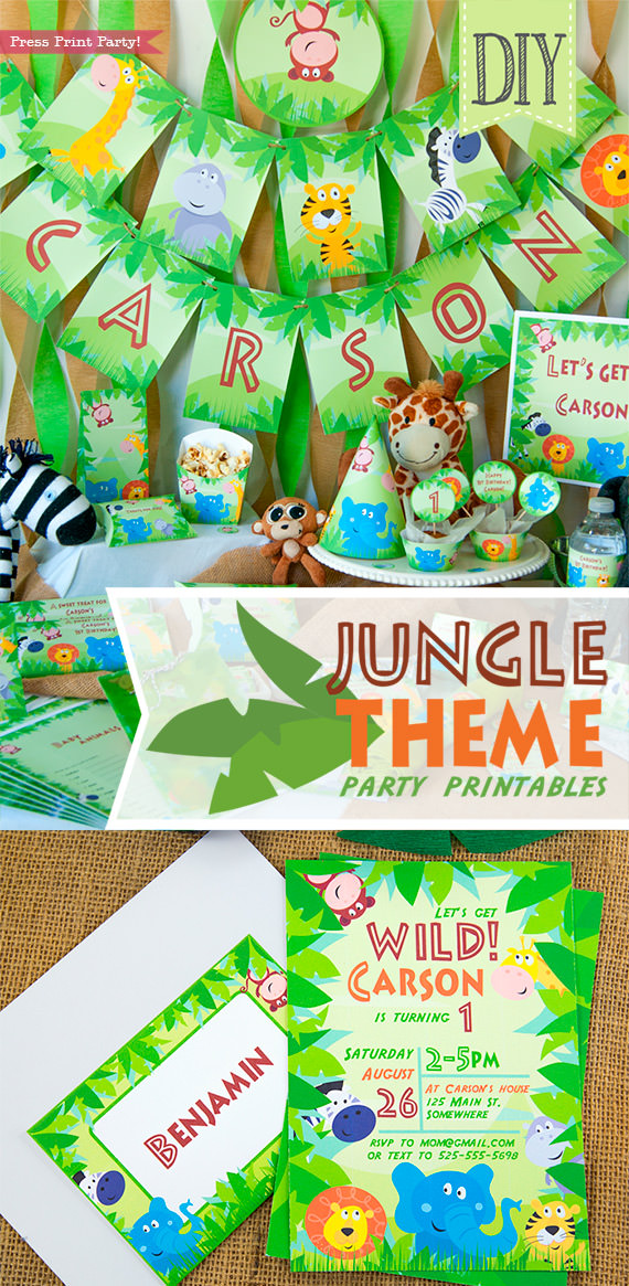 Jungle Theme Party Printables for Jungle Birthday or Safari Baby Shower - Press Print Party! Jungle party full set