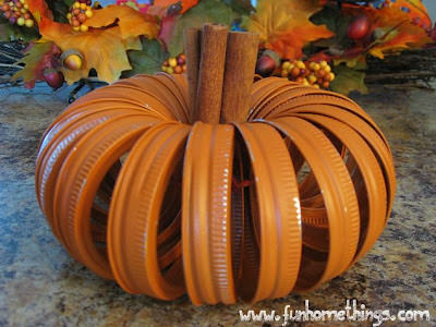Pumpkin craft ideas -mason jar lids