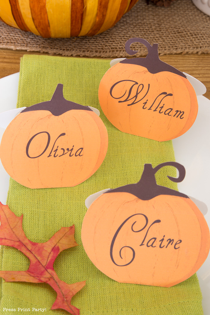3 Rustic Thanksgiving place cards - Press Print Party!
