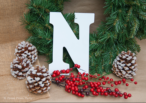 Frosted Christmas Wreath with Letters Tutorial - NOEL and JOY - By Press Print Party