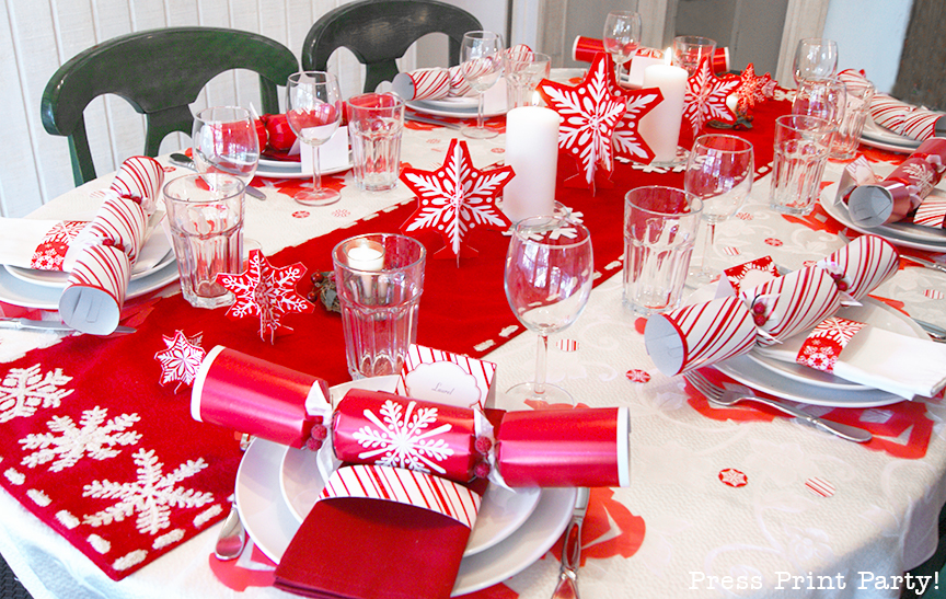 Merry and Bright Red and White Snowflakes Christmas Table - By Press Print Party!