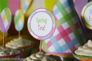 Spring Gingham Printables for Easter by Press Print Party! - Cupcake Toppers
