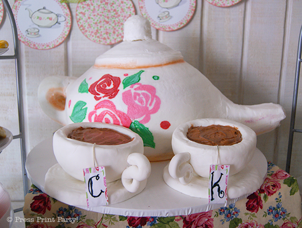 A Delightful Spring Tea Party - by Press Print Party. Tea Pot Cake