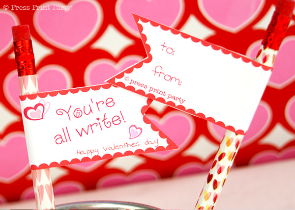 flag Pencil topper with you're all write.Free DIY Valentine's day printable pencil toppers - Valentines day gift classroom - Free Printale - Press Print Party!