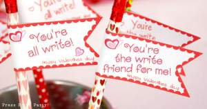 DIY Valentine's day printable pencil toppers - Valentines day gift classroom - Press Print Party!