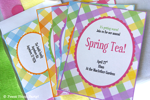 Spring Gingham Printables for Easter by Press Print Party! - Easter invitations