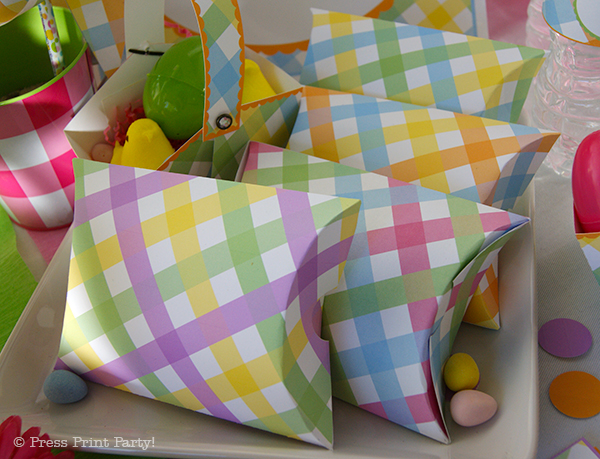Spring Gingham Printables for Easter by Press Print Party! Favor Pillow Boxes