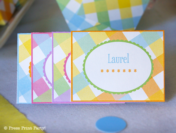 Spring Gingham Printables for Easter by Press Print Party! Place cards