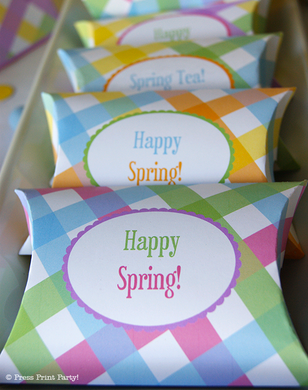 Spring Gingham Printables for Easter by Press Print Party! Editable favor boxes
