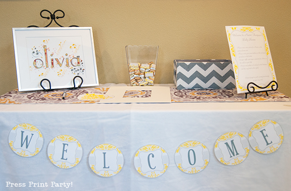 Yellow and Gray Damask Baby Shower Printables by Press Print Party - welcome table