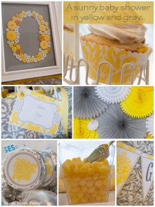 Yellow and Gray Damask Baby Shower Printables by Press Print Party