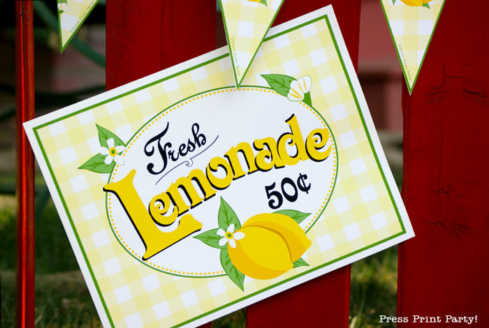 Lemonade stand sign free printable Press Print Party.
