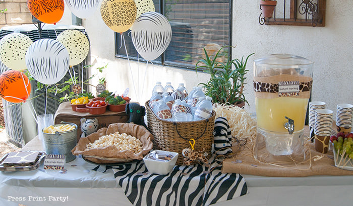 Get Wild african Animal party Safari theme Party Printables - Press Print Party! drinks table