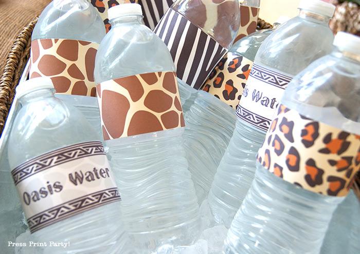 Get Wild african Animal party Safari theme Party Printables - Press Print Party! bottle wraps