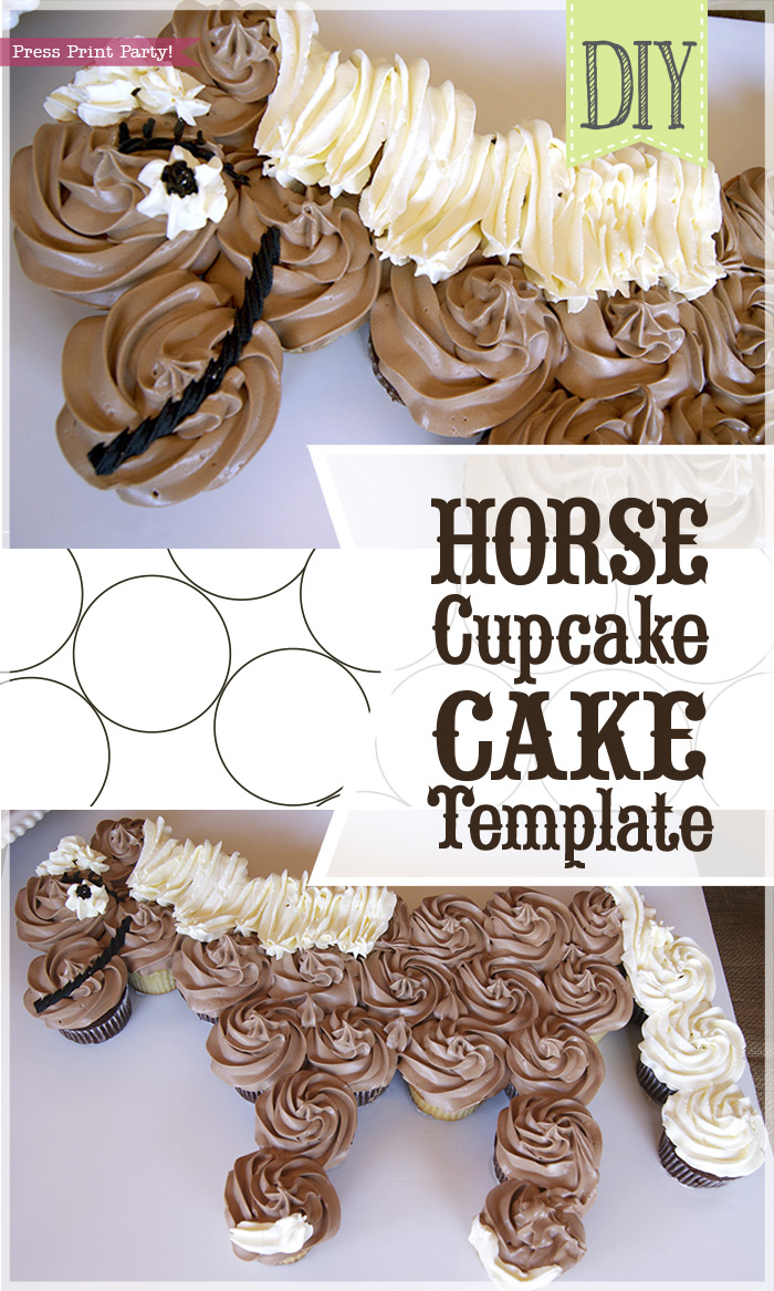 Horse Cupcake Cake Template - Unicorn cupcake cake - horse birthday cake - by Press Print Party!