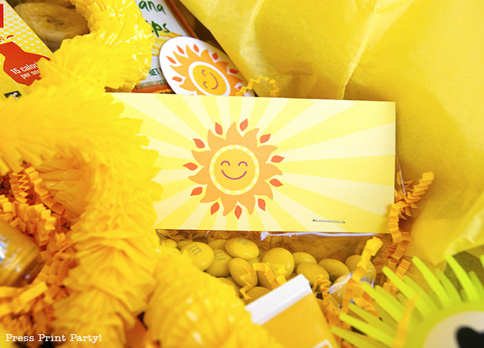 happy sun printable favor bag