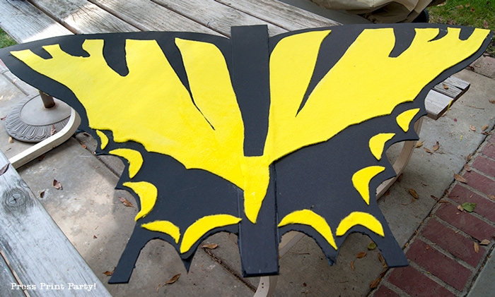 Butterfly costume wings open back - Press Print Party!