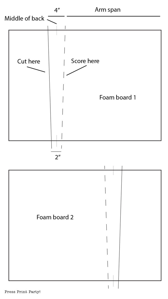 Butterfly costume foam board DIY template - Press Print Party!