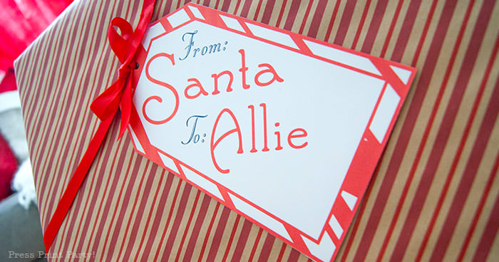 "Christmas tag. Free printable Big ""From Santa"" Gift Tag Printable - Customize with your Child's Name. By Press Print Party!"