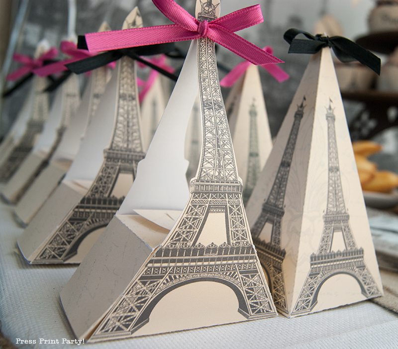 Favor Boxes - Paris Party with a French Vintage flair - Press Print Party!