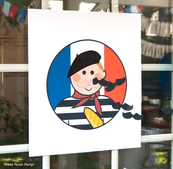 Pin the mustache on the French guy free printable game for french or paris party. Press Print Party!