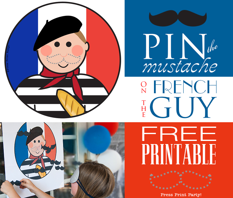 Pin the mustache on the French guy game - Free printable from Press Print Party