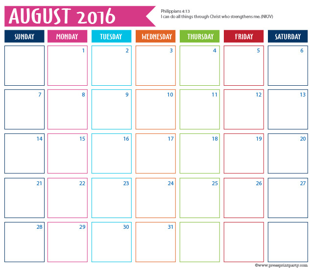 2016 Calendar for Bullet Journal -August - Press Print Party