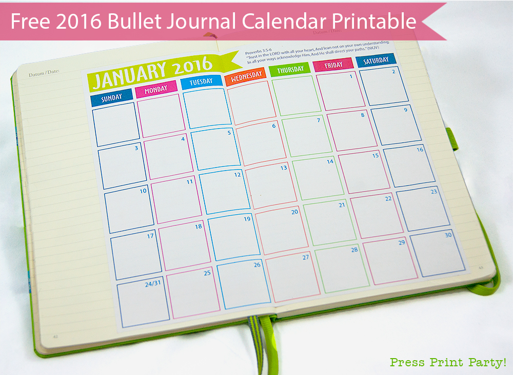 2016 Calendar for Bullet Journal -Free Printable- Press Print Party