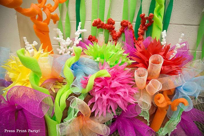 final coral reef with pool noodles, paper flowers, etc..