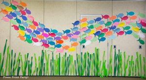 school of fish on wall under the sea decorations