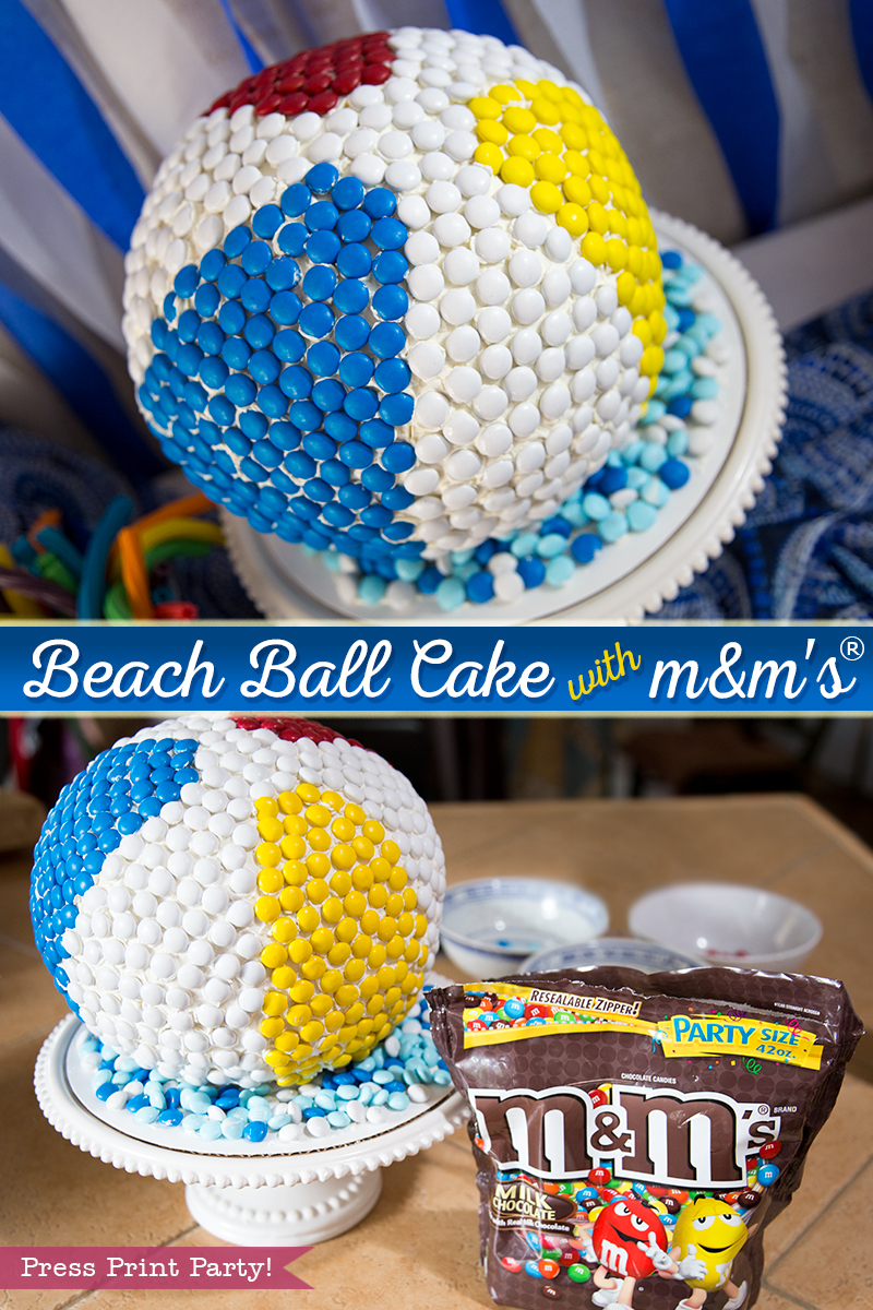 How to make a beach ball cake with m&ms - tutorial- Press Print Party!