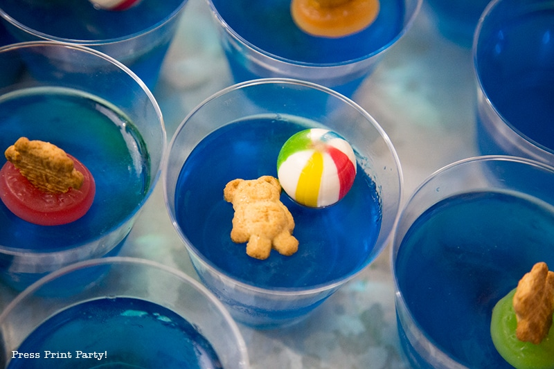Pool Party Beach Ball Birthday Bash - Ideas and decorations by Press Print Party! Jello swimmers