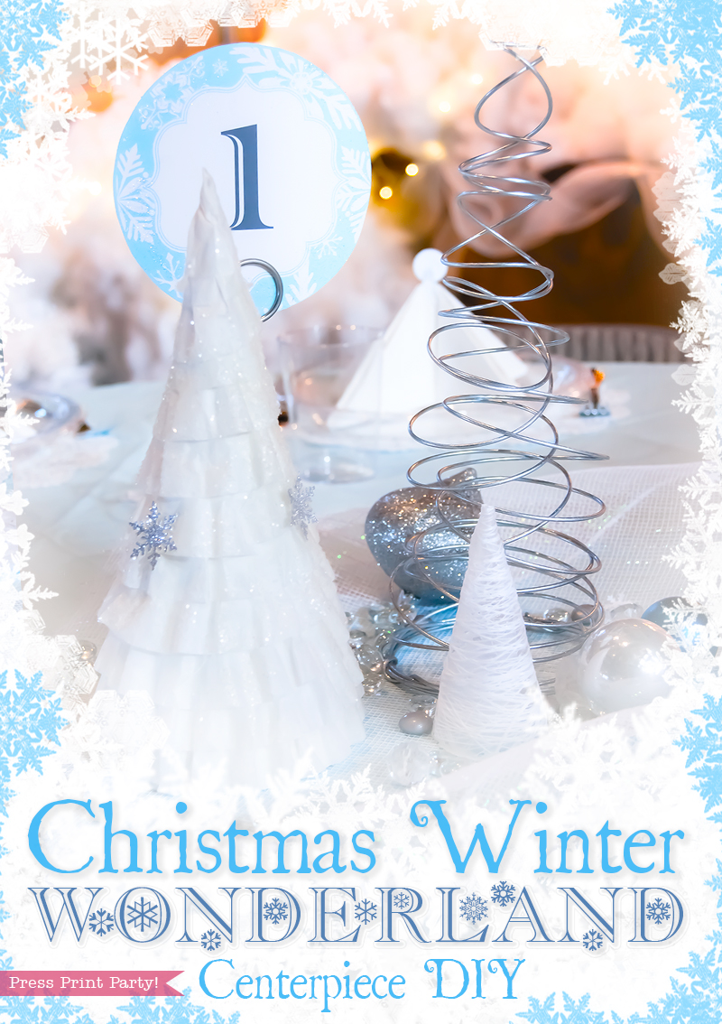 Christmas Winter Wonderland Centerpiece DIY by Press Print Party! White and Blue. Snowflakes.