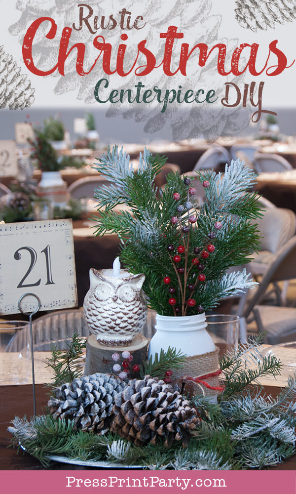 Rustic Christmas table centerpiece with greenery, rustic owl, white mason jar, pinecones, and berries. With a free music sheet table number printable download. With a brown tablecloth and music sheet place mats. Easy and cheap. by Press Print Party!