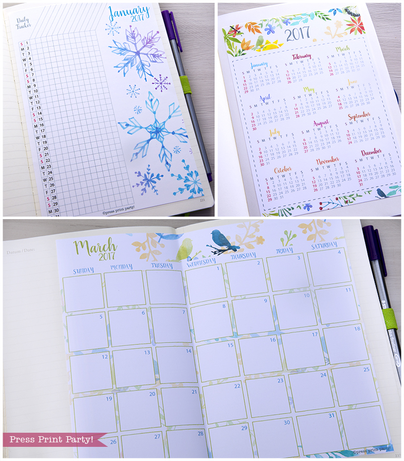 2017 Calendar set for Bullet Journals - Vibrant Watercolors. By Press Print Party!