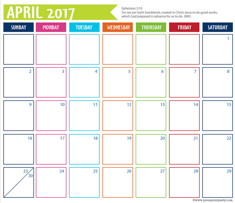 FREE 2017 Bullet Journal Printable Grid Calendar - Planners and Bujos - By Press Print Party! April 2017 calendar