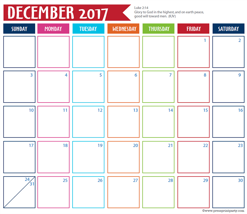 FREE 2017 Bullet Journal Printable Grid Calendar - Planners and Bujos - By Press Print Party! December 2017 calendar