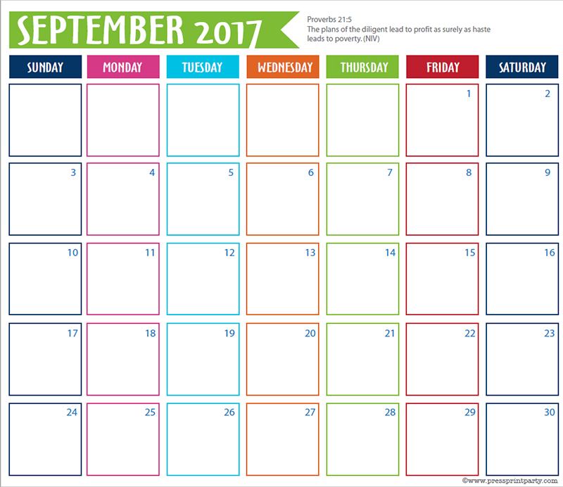FREE 2017 Bullet Journal Printable Grid Calendar - Planners and Bujos - By Press Print Party! September 2017 calendar