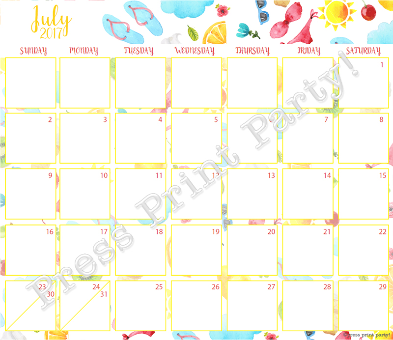 2017 Calendar Printable for Bullet Journals - Vibrant Watercolors - By Press Print Party! July 2017
