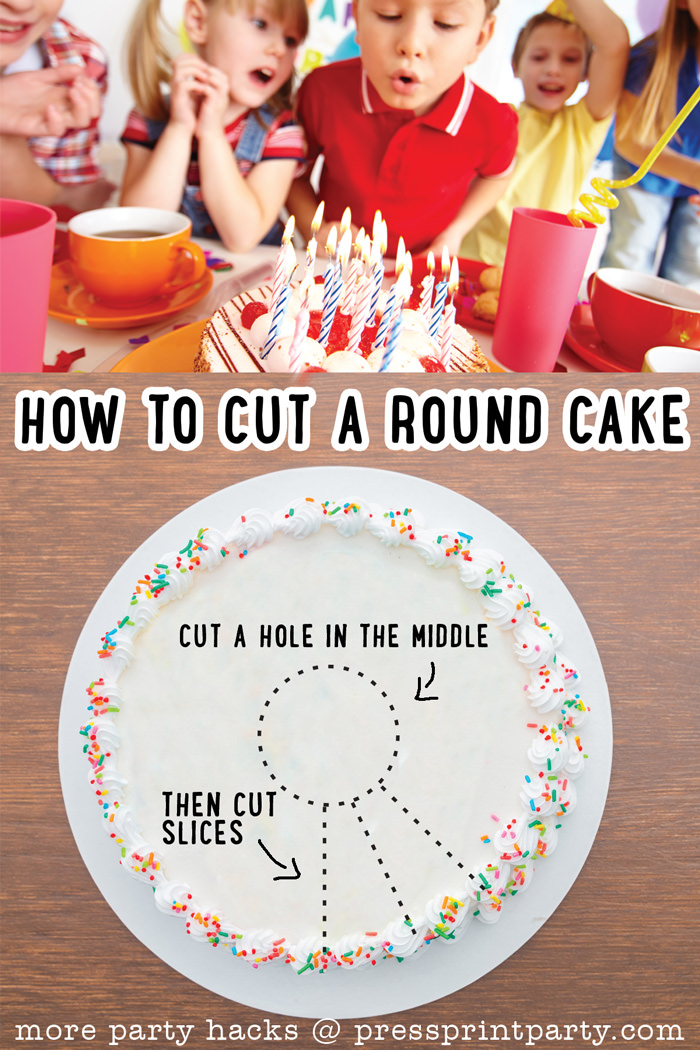 11 Best Birthday Party Hacks for Busy parents - By Press Print Party - How to cut a round cake