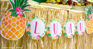 Party like a Pineapple -Pineapple party banner- Luau Party - by Press Print Party!