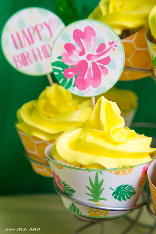 Party like a Pineapple - Pineapple cupcakes - Luau Party -by Press Print Party!