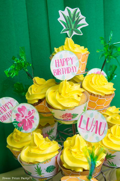 Party like a Pineapple - Pineapple cupcakes - Luau Party - by Press Print Party!