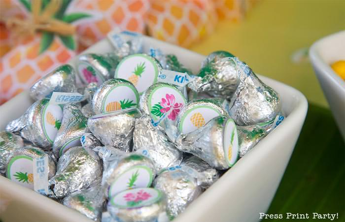 Party like a Pineapple -Pineapple party - Luau Party hershey kisses labels - by Press Print Party!