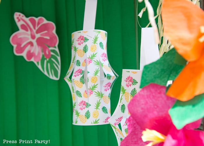 Party like a Pineapple -Pineapple party - Luau Party lanterns printable- by Press Print Party!