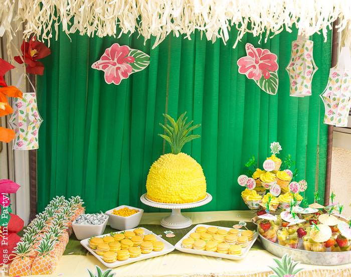 Party like a Pineapple -Pineapple dessert table with pineapple cake and cupcakes and macarons with paper lanterns- Luau Party - by Press Print Party!