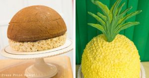Before and after pineapple shaped cake-Pineapple party - Luau Party - Pineapple cake - by Press Print Party!