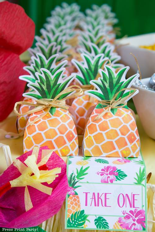 Party like a Pineapple - Pineapple favor box - Luau Party - by Press Print Party!